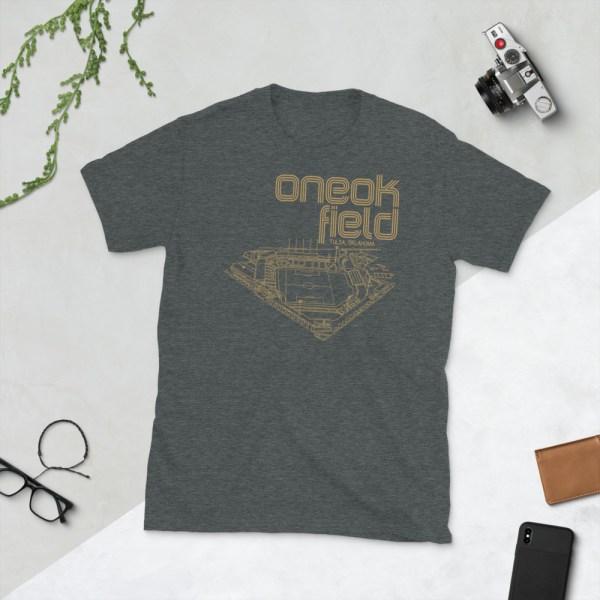 Dark gray ONEOK Field and FC Tulsa t-shirt