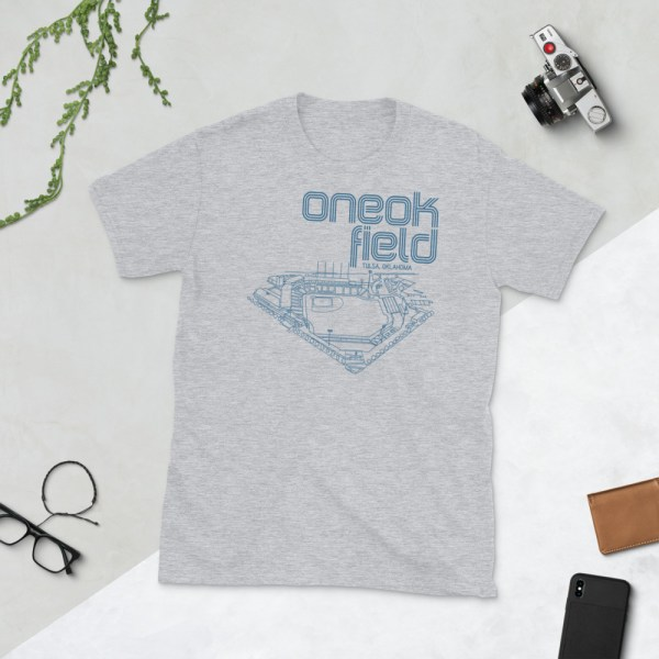 Gray ONEOK Field and Tulsa Drillers t-shirt