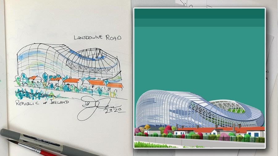 Original Sketch of the Aviva and Lansdowne Road