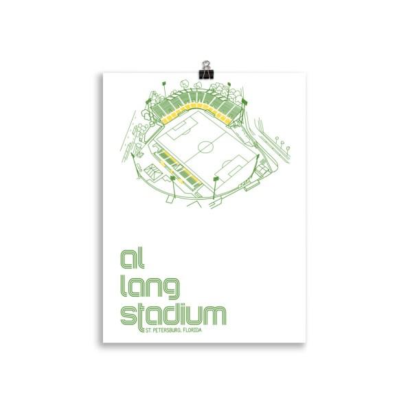 white Al Lang Stadium and Tampa Bay Rowdies Soccer Poster