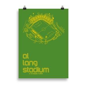Large green Al Lang Stadium and Tampa Bay Rowdies Soccer Poster