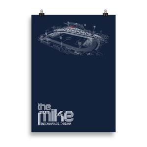 Large navy Indy Eleven poster of the Mike