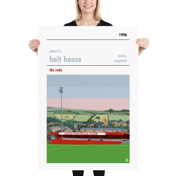 Massive football poster of Colne FC and Holt House