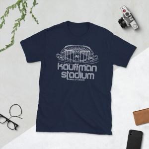 Navy Kauffman Stadium and Kansas City Royals T-Shirt
