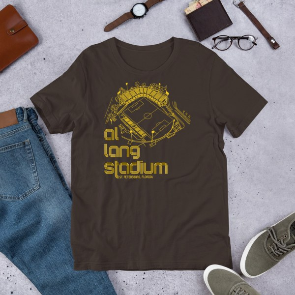 Brown and yellow Tampa Bay Rowdies Fine Line T-Shirt