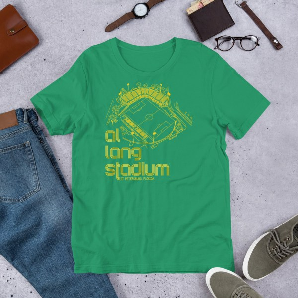 Green and yellow Tampa Bay Rowdies Fine Line T-Shirt