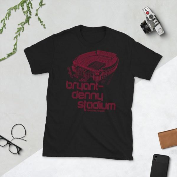 Black Bryant-Denny Stadium and Alabama Crimson Tide T-Shirt