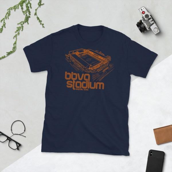 Navy BBVA Stadium and Houston Dynamo and Dash T-Shirt