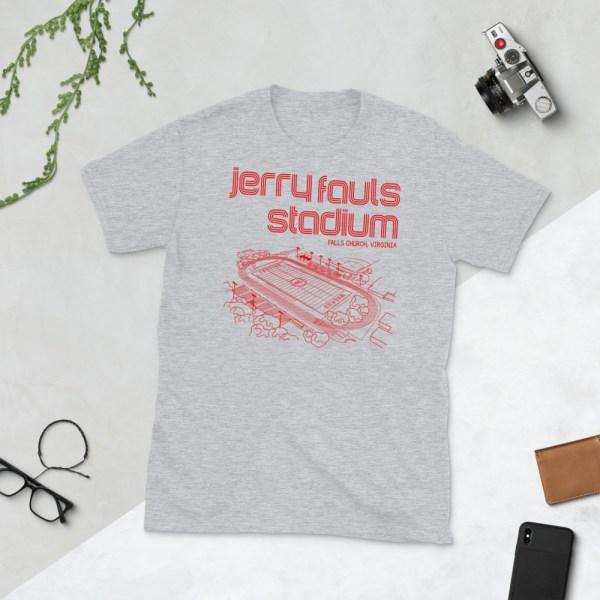 Gray Jerry Fauls Stadium Football T-Shirt