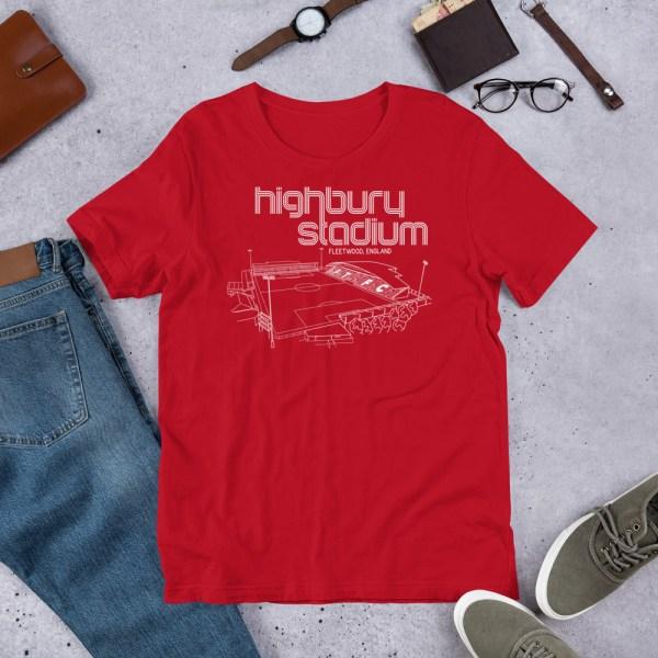 Red Fleetwood Town and Highbury Stadium T-Shirt