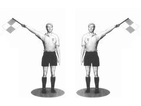 Жесты судьи при ауте в футболе