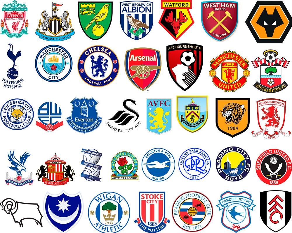 Знаки футбольных клубов всех англии