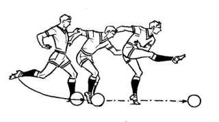Удар по мячу серединой подъема ноги