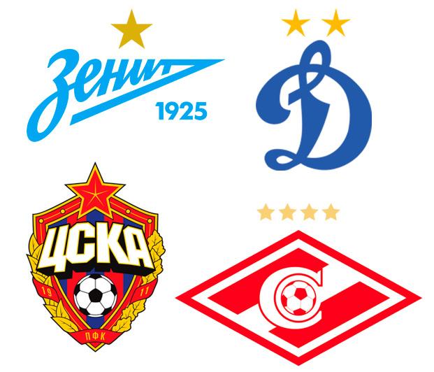 Эмблемы российских футбольных клубов со звездами