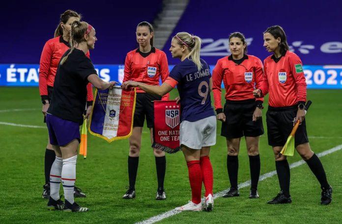 Eugénie Le Sommer lors de France États-Unis mardi 13 avril