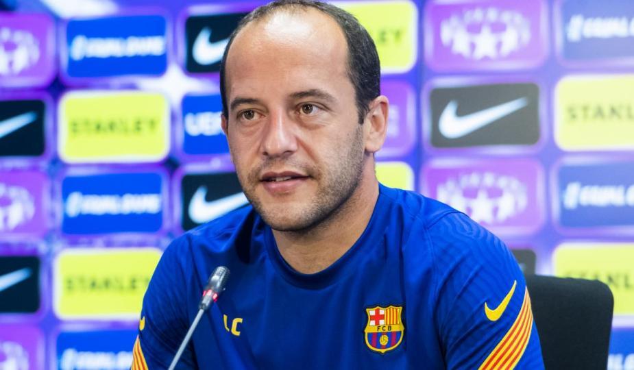 Lluis Cortes, entraîneur de Barcelone, avant la finale de Ligue des championnes face à Chelsea