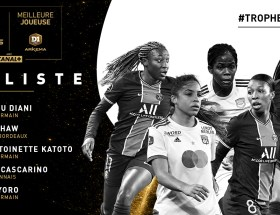 Marie-Antoinette Katoto, Grace Geyoro et Kadidiatou Diani du PSG, Khadija Shaw de Bordeaux et Delphine Cascarino de Lyon sont nominées pour être meilleure joueuse du trophée UNFP.