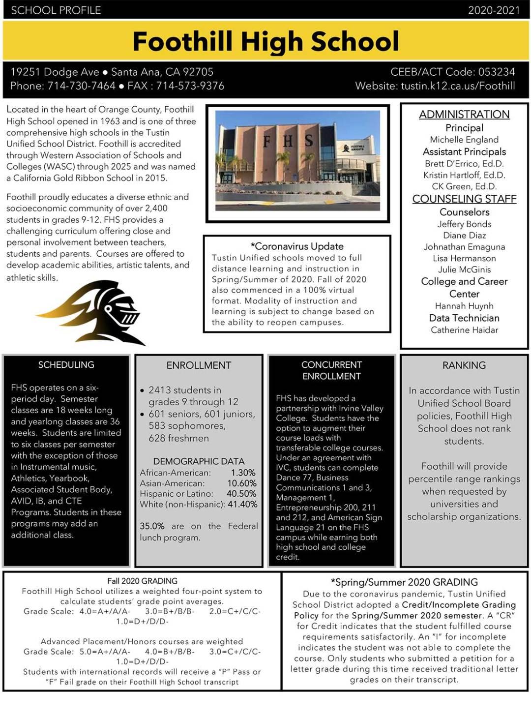 FHS School Profile page 1