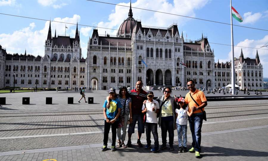 Us in front of Parliament Square, Budapest. Footprintsforever