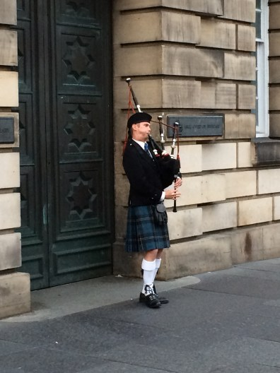 Playing Scottish Bagpipes