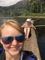 Canoeing in Lake Mutanda
