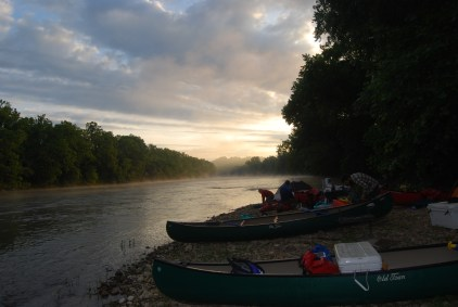 Sunrise at our gravel bar camp en route to James River State Park