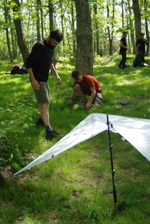 Martin rolls ultralight with his cuben fiber tarp shelter