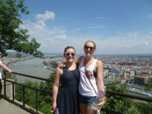 Charlotte and I after our sweaty climb to the top of the hill in Budapest..