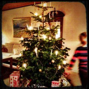 Dancing around the Christmas tree on Christmas Eve..