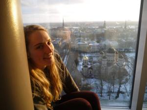 Looking over Riga from the Skyline Bar at the Radisson Blu Hotel..
