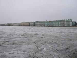 The Winter Palace and the Hermitage across the frozen Neva River..