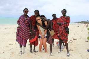 Me and some of our Masai students on Jambiani Beach..