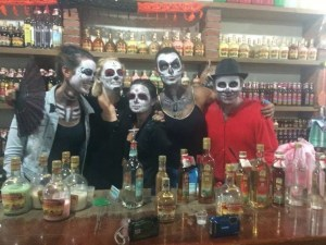 Face painting done, now to drink plenty of mezcal..
