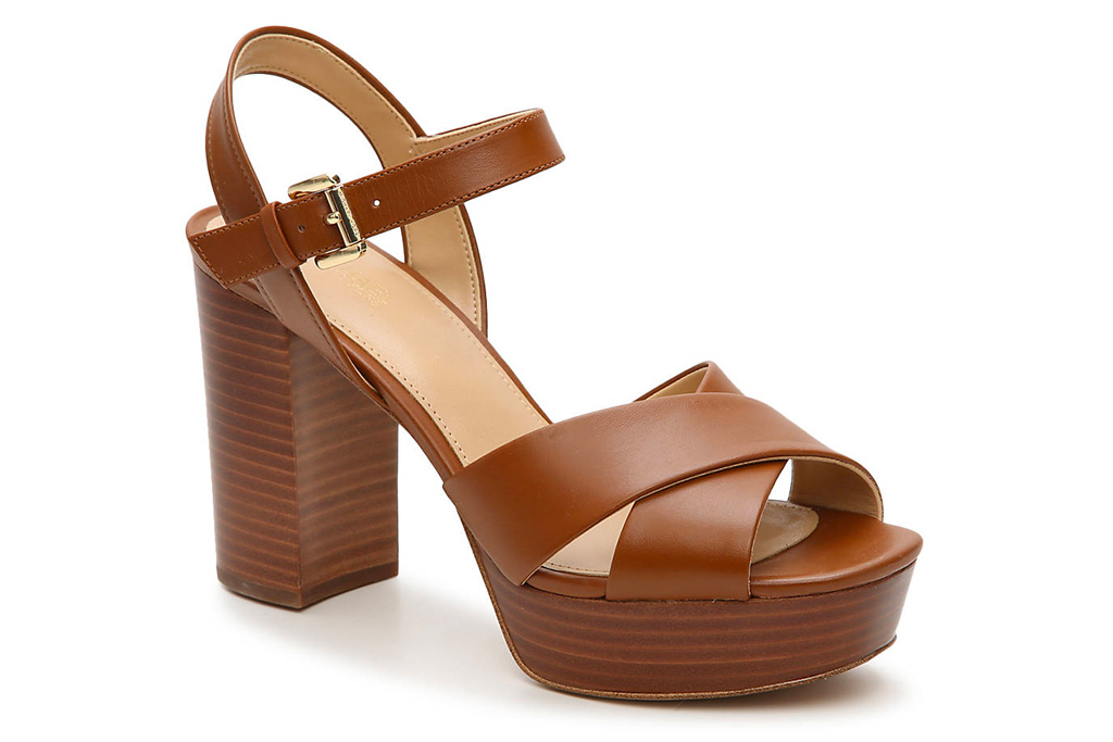 michael kors, sandals, brown, platform
