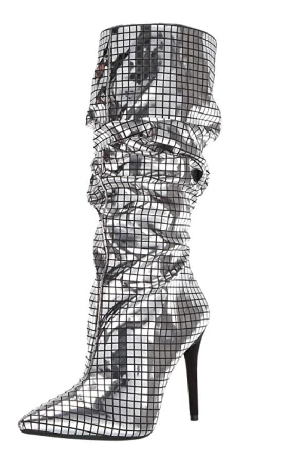 ботинок Джессики Симпсон, металлический ботинок, серебряный ботинок