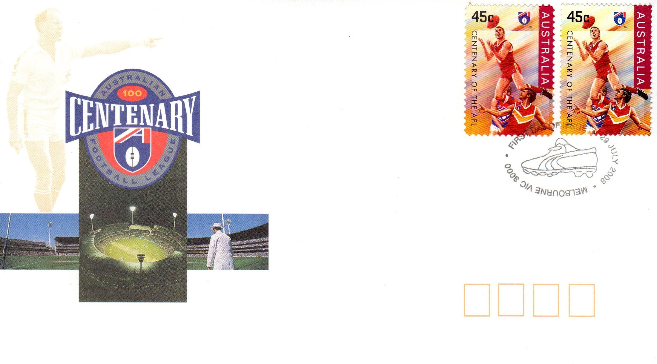 AFL Cent Cover & PS and gum stamp 150 Yrs PM