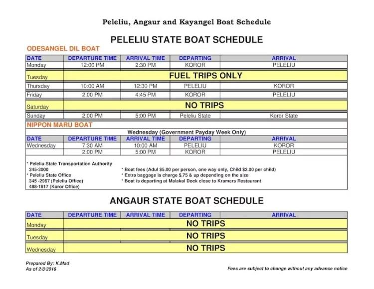 Angaur Peleliu Kayangel Koror Horário de Barco