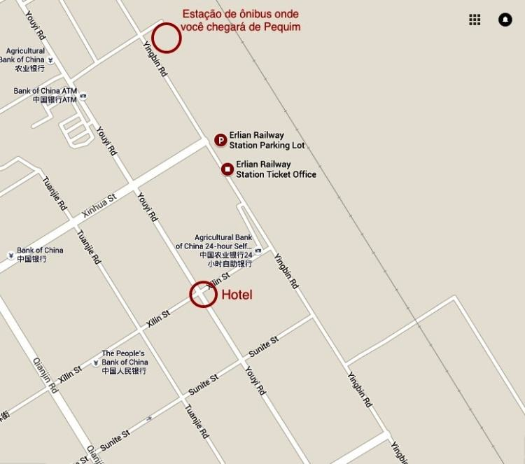 Erlian Erenhot hotel ônibus mapa