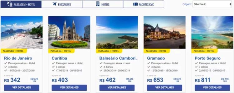 Pacotes de viagem baratos
