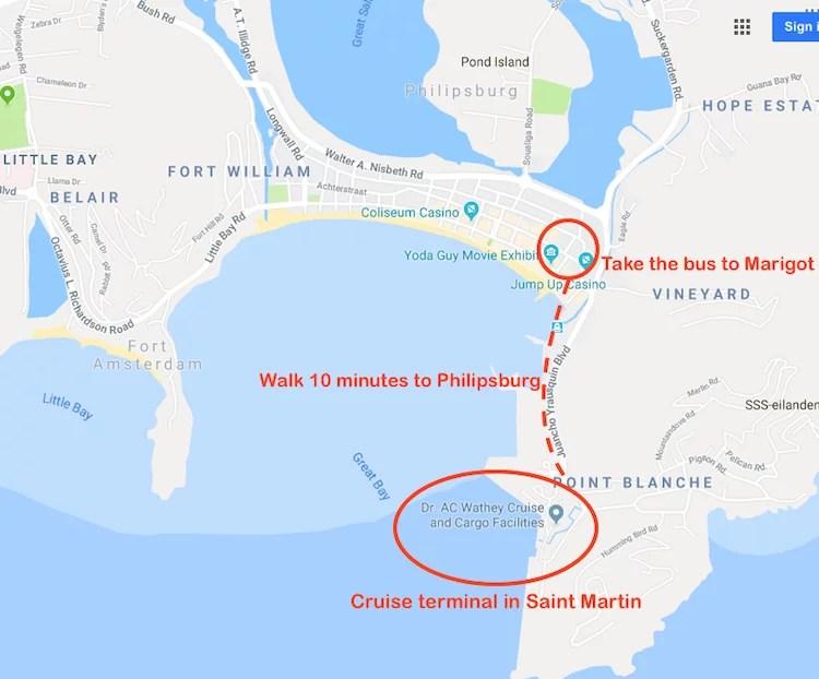 Como ir de Saint Martin para Anguilla mapa