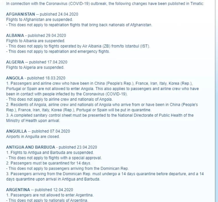 IATA Coronavirus information