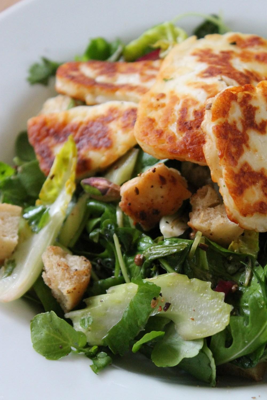 Celery, Pistachio and Red Onion Halloumi Salad