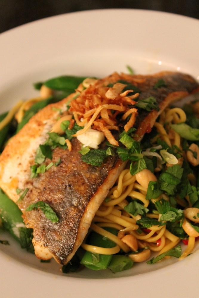 Fish, Asian Noodles, Crispy Ginger
