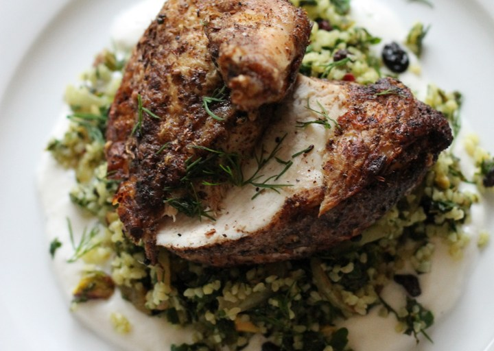 Moroccan Chicken and Green Bulgar Wheat
