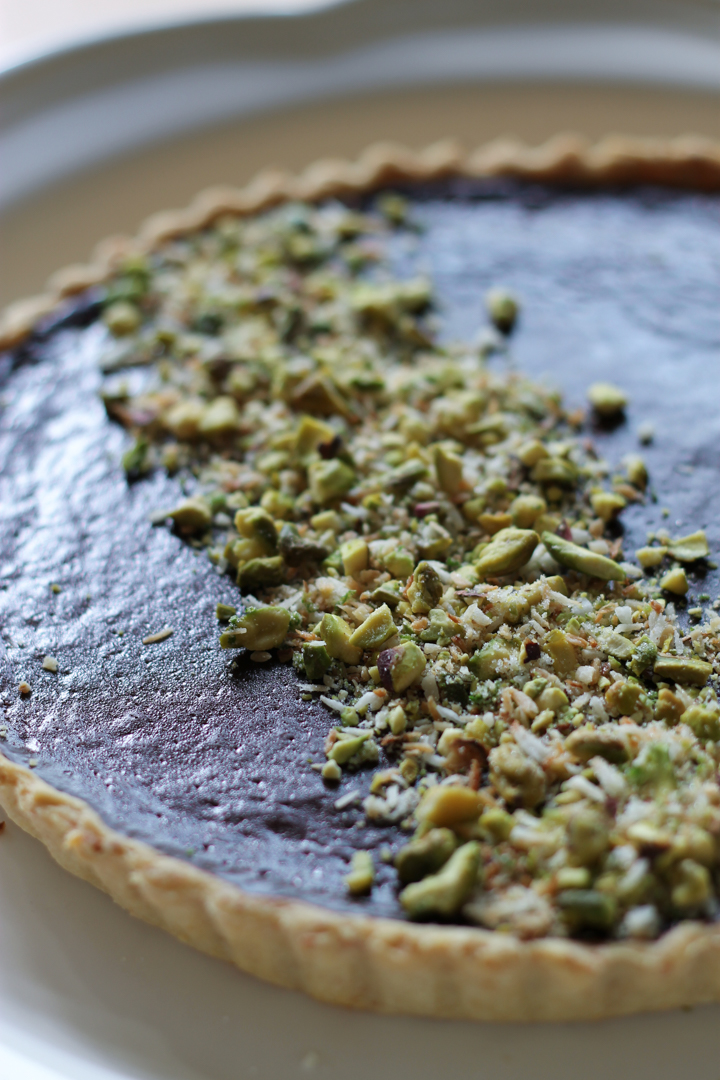 Chocolate Mint Tart with Sugared Pistachios