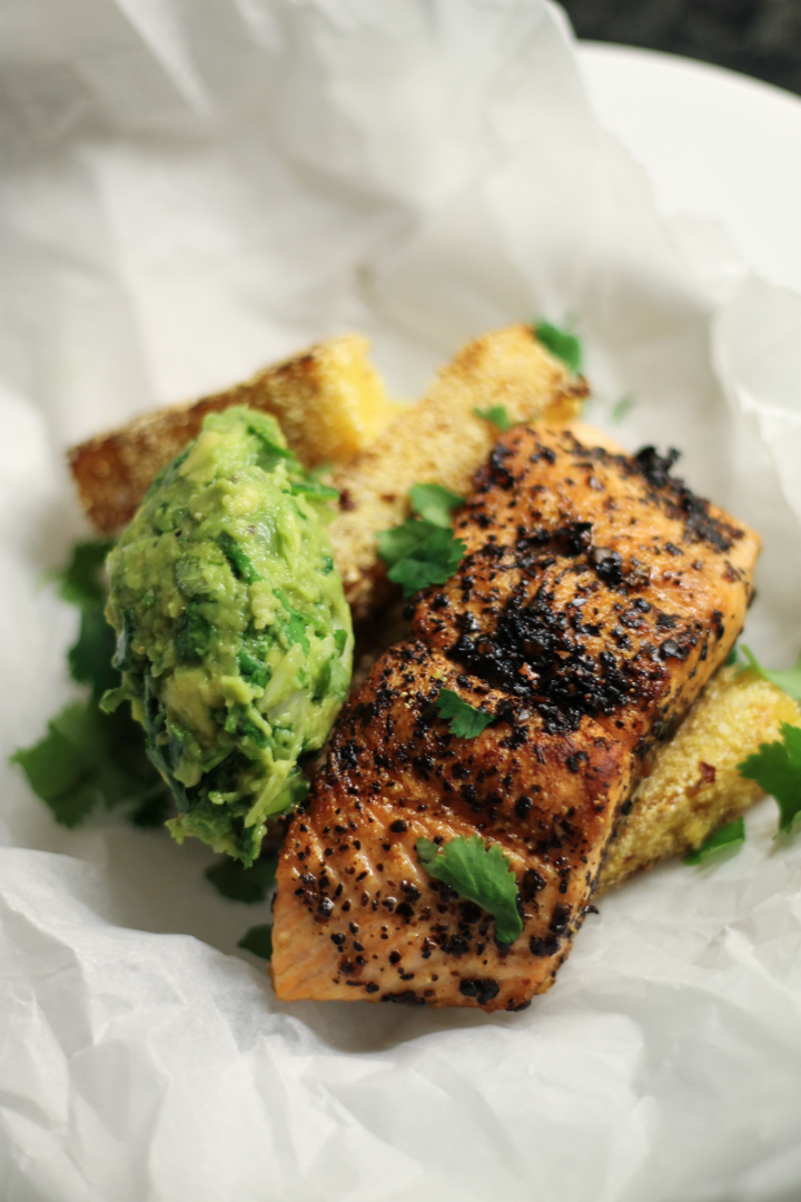 Urfa Chilli Salmon, Polenta Chips, Smashed Avocado