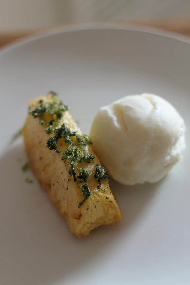 Rum Roasted Pineapple, Coconut Ice Cream, Mint Sugar