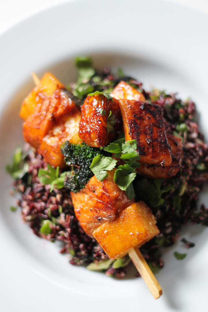 Sticky Salmon-Pineapple Kebabs, Thai black rice salad
