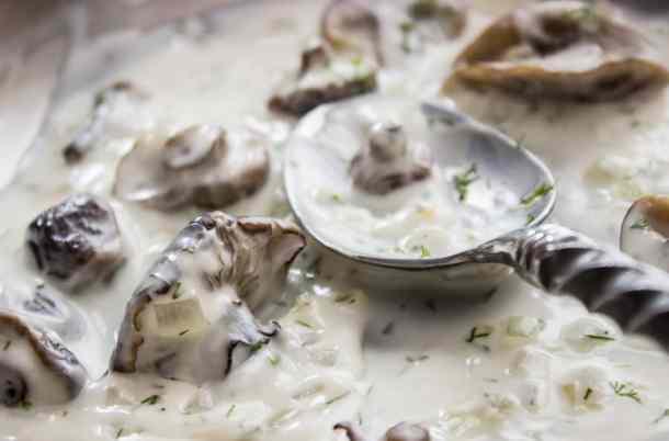 Honey mushrooms in sour cream sauce_-5
