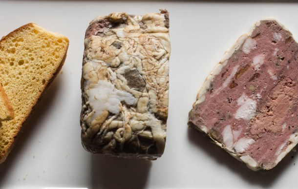 Venison terrine with caul fat, duck liver, porcini and wild thyme_-